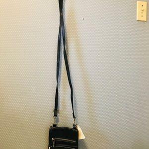Rough Roses Bags - Rough Roses Black Leather Crossbody